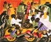 Jacob Lawrence's Summer Street Scene in Harlem, 1948, was acquired by MAG in 1991 under Holcomb.