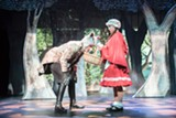 "PHOTO BY STEVEN LEVINSON. - Jake Purcell (as the Wolf) and Andrianna Scalice (as Red Riding Hood) in the JCC CenterStage production of ""Into the Woods."""