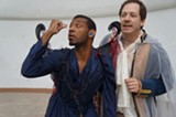"PHOTO COURTESY ROCHESTER SHAKESPEARE PLAYERS - Jamal Jones (left) portrays Oberon, and Stephen Cena (right) plays Theseus in the Rochester Shakespeare Players' production of ""A Midsummer Night's Dream."" The company partnered with NTID to develop an innovative voice-signing double casting."