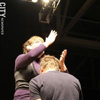 Performance photos: Joel McHale w/Brooks McBeth Joel...uhh....having fun with the sign interrupter.