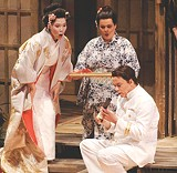 "COURTESY MERCURY OPERA - Kaori Sato, Kathryn Cowdrick, and - Michael Rees Davis in ""Madama Butterfly,"" - from Mercury Opera's 2005-06 season."