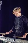 "Kurt Fedde suring Sound ExChange's ""01x"" performance at Geva during the 2014 Fringe Festival."