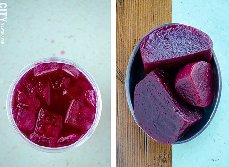 Left: Ginger-beet infused water. - Right: Pickled beets. - PHOTOS BY MARK CHAMBERLIN