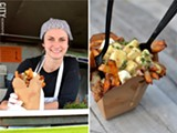 (left) Le Petit Poutine's Clapp is one of the area food-truck operators working with the city to find more spaces from which they can sell downtown. | (right) Poutine from Le Petit Poutine; the Canadian dish features fries, gravy, cheese curds, and thyme - PHOTO BY MATT DETURCK