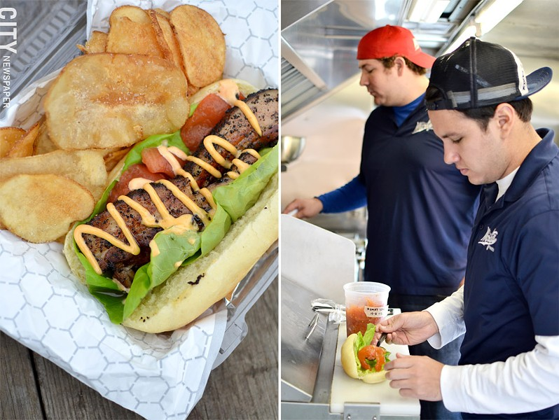 (left) Marty O'Sullivan and Andre Linares of Marty's Meats | (right) A pork-belly sandwich from Marty's Meats. - PHOTO BY MATT DETURCK