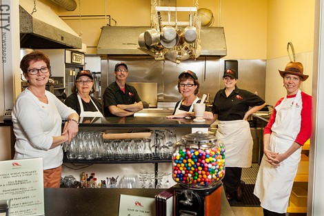 (left to right) Diane Brinkman (Manager/Owner), Leslie Brinkman Del Popolo (kitchen prep), Gerry Brinkman (Chef/Owner), Jeanne Brinkman Grinnan (kitchen prep), Anna Brinkman (sous chef), Brenda Robak (baker). - PHOTO BY JOHN SCHLIA