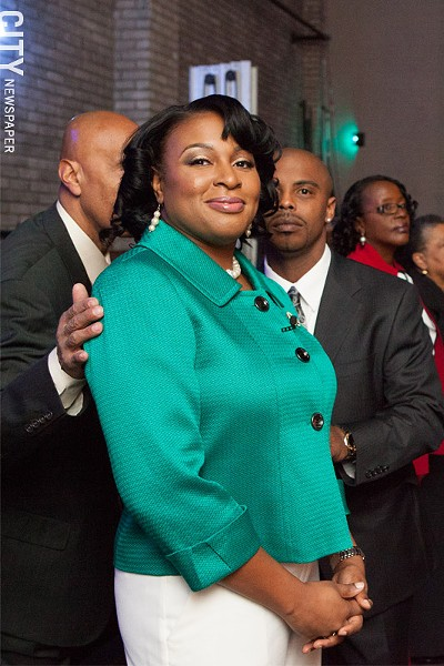 Lovely Warren at her public inauguration at the Auditorium Theatre. - PHOTO BY JOHN SCHLIA