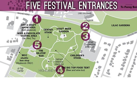 Map showing the five entrances into the upcoming Rochester Lilac Festival. - PHOTO PROVIDED BY MONROE COUNTY PARKS