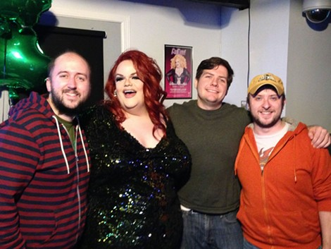 "Matt DeTurck, Darienne Lake, Eric Rezsnyak, and Adam Lubitow at the ""Drag Race"" viewing party at the Bachelor Forum. - PHOTO BY SOME PREVIOUSLY SHIRTLESS DUDE"