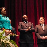 Mayor Lovely Warren's Inauguration Ceremony Mayor Warren stands with members of her administration. PHOTO BY JOHN SCHLIA