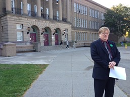 Mayoral candidate Alex White outside Monroe High School. - PHOTO BY CHRISTINE CARRIE FIEN