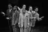 "JIM BUSH PHOTOGRAPHY/GEVA THEATRE - Michael-Leon Wooley, Darius - Nichols, Jim Weaver, Randy Donaldson, Darryl Reuben Hall, and J. Cameron - Barnett (left to right) in Geva's ""Moe."""