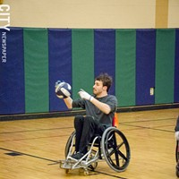 Quad Rugby Mike Bliss during a Wreckers practice. PHOTO BY MARK CHAMBERLIN