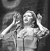 My eyes have seen the glory of a gushing review: Ann Duquesnay as Alberta Hunter in Geva Theatre's production of Cookin' at the Cookery: The Music and Times of Alberta Hunter.