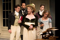 Nicole Underhay as Lady Croom, Gray Powell as Septimus Hodge, Sanjay Talwar as Captain Brice, RN, Andrew Bunker as Ezra Chater and Kate Besworth as Thomasina Coverly in Arcadia. PHOTO BY DAVID COOPER