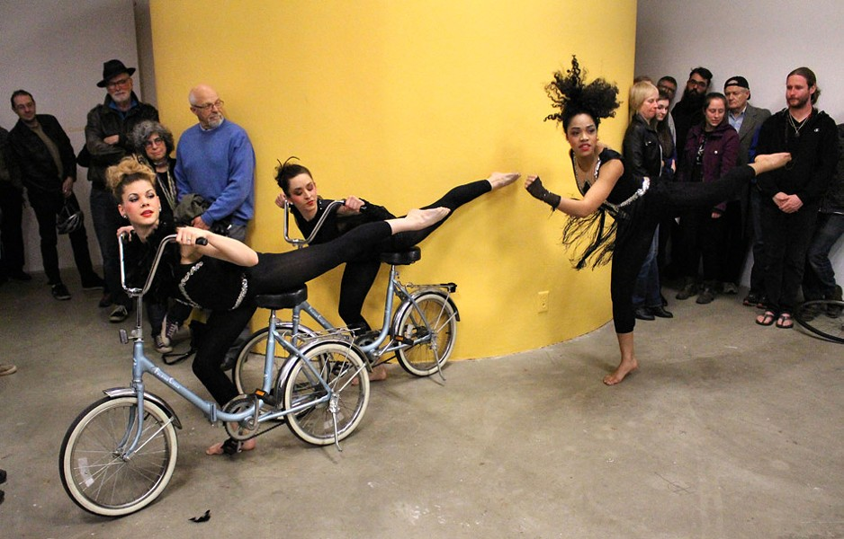 """Once Dance Co. performed a bicycle-themed routine at the opening reception for Rochester Contemporary's current show, """"Ride It: Art and Bikes in Rochester."""" The art center also provided a bike valet service for cyclists. - PHOTO PROVIDED"""