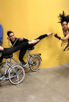 """Once Dance Co. performed a bicycle-themed routine at the opening reception for Rochester Contemporary's current show, """"Ride It: Art and Bikes in Rochester."""" The art center also provided a bike valet service for cyclists."""