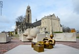 """PHOTO BY MATT DETURCK - One view of the Tom Otterness commission, """"The Creation Myth,"""" now installed in the Memorial Art Gallery's growing Centennial Sculpture Park."""