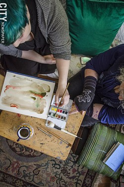 Painting instruction. - PHOTO BY MARK CHAMBERLIN