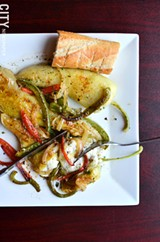 Pan-seared banana peppers from Acanthus Cafe. - PHOTO BY MATT DETURCK