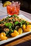 Park Ave Cosmo and the kale salad (kale, crispy sweet potato, mandarin oranges, and house wasabi ginger dressing).