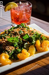 PHOTO BY MARK CHAMBERLIN - Park Ave Cosmo and the kale salad (kale, crispy sweet potato, mandarin oranges, and house wasabi ginger dressing).