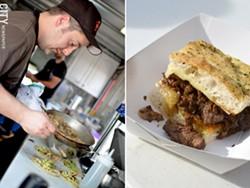 Paul Vroman prepares chicken tacos inside the kitchen of Brick-N-Motor. - PHOTO BY MATT DETURCK