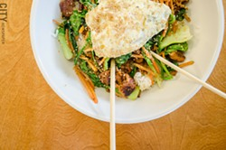 Pork bi bim bap with a fried egg. - PHOTO BY MARK CHAMBERLIN