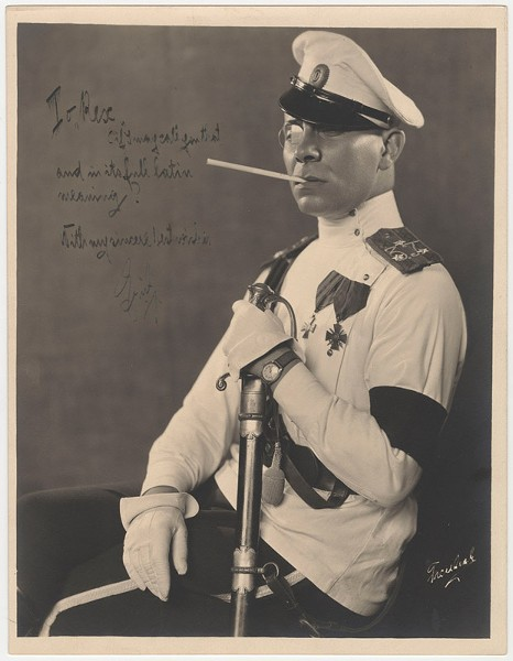 """Portrait of Erich von Stroheim, inscribed to Rex Ingram"""