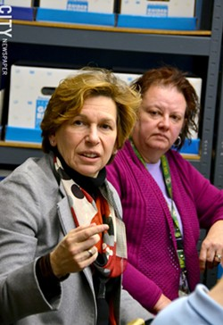 Randi Weingarten (left) visited World of Inquiry school #58 to talk with teachers and parents, including parent Roberta Brunelle (right). - PHOTO BY MATT DETURCK