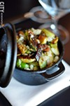 Roasted brussels sprouts with applewood smoked bacon, parsnips, and chestnut butter, from CHAR.