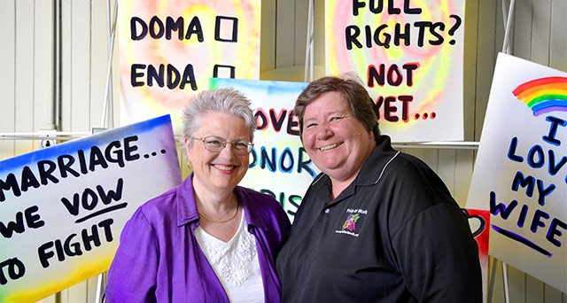 Rochester LGBT activists Anne Tischer, left, and Bess Watts.
