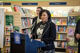 Rochester Mayor Lovely Warren and Police Chief Mike Ciminelli at a press conference on the police reorganization. - PHOTO BY MARK CHAMBERLIN