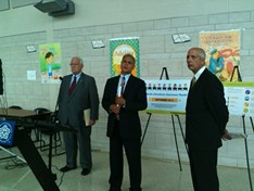 Mayor Tom Richards, Superintendent Bolgen Vargas, and United Way President Peter Carpino at a press conference this morning to address truancy in the city school district. - PHOTO BY TIM LOUIS MACALUSO