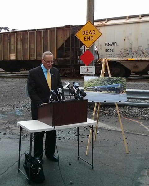 Senator Chuck Schumer wants railroad and oil companies to stop using a tanker car model that has a poor safety record. - PHOTO BY JEREMY MOULE