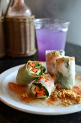 PHOTO BY MATT DETURCK - Shrimp spring rolls and a Thai lime tea.
