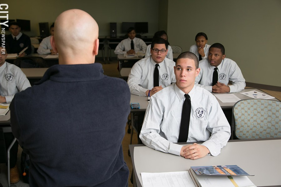 Students listen to instructor Mike Marcano during a law enforcement class, part of the Career Pathways Program. - PHOTO BY MIKE HANLON