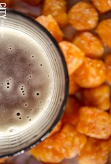 PHOTO BY MARK CHAMBERLIN - Sweet potato tater tots and beer from American Burger Bar and Beer Boutique