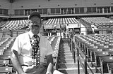 PHOT BYJUSTIN REYNOLDS - Take a seat: Nick Christakis has ushered at Frontier Field since 1999.