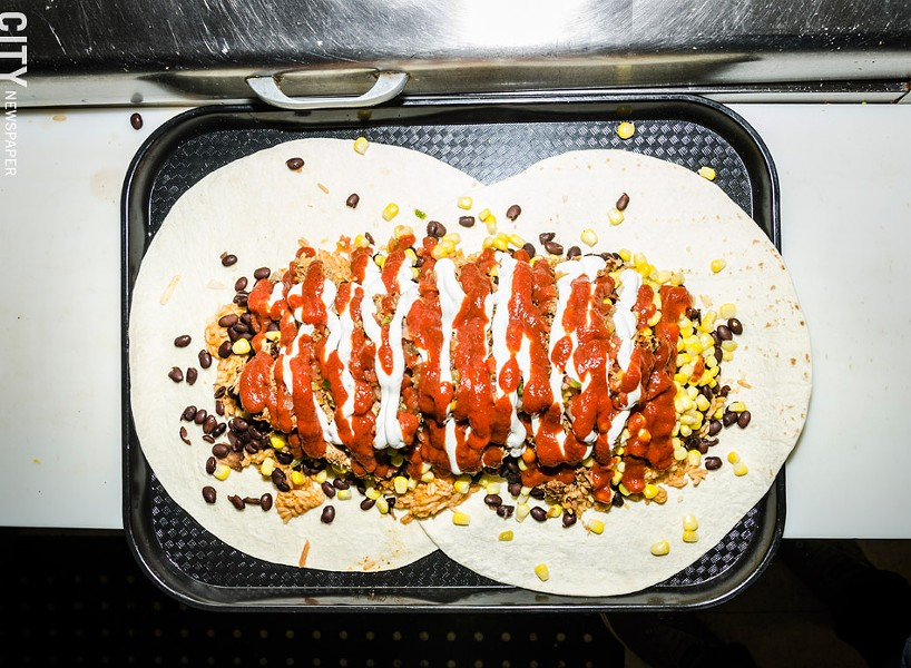The Burritosaurus challenge — a five-pound burrito — at Burrito Fresco in Brockport. - PHOTO BY MARK CHAMBERLIN