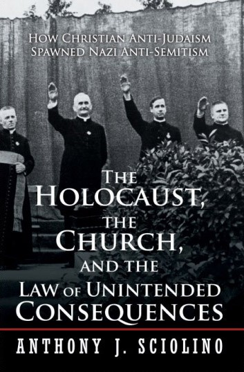 "The cover of Anthony Sciolino's book shows four Catholic priests raising their arms in a ""Heil Hitler"" Nazi salute at a 1933 Catholic youth rally. - PROVIDED IMAGE"