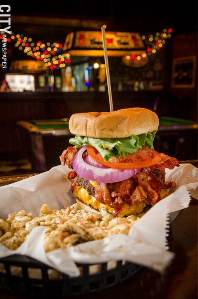The Double Bacon Chicken Cheeseburger (a cheeseburger, bacon, and chicken fingers on a roll) with mac salad, from Marshall Street. - PHOTO BY MARK CHAMBERLIN