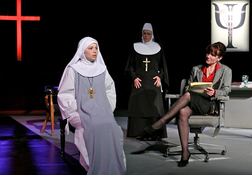 "The Greater Rochester Repertory Company presentation of ""Agnes of God"" features (from left to right) Marcy Savastano as Sister Agnes, Denise Bartalo as Mother Miriam Ruth, and Erin-Kate Howard as Dr. Martha Livingstone. - PHOTO BY ANNETTE DRAGON"