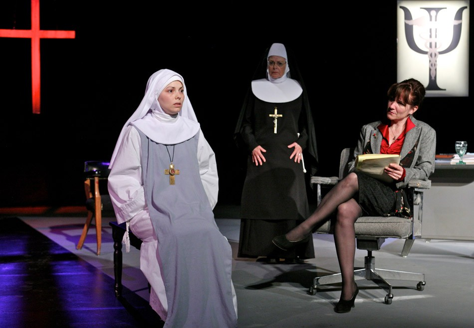 """The Greater Rochester Repertory Company presentation of """"Agnes of God"""" features (from left to right) Marcy Savastano as Sister Agnes, Denise Bartalo as Mother Miriam Ruth, and Erin-Kate Howard as Dr. Martha Livingstone. - PHOTO BY ANNETTE DRAGON"""