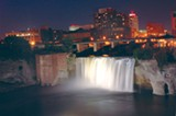 The High Falls bridge affords a spectacular view of the downtown skyline. PHOTO BY MAX SEIFERT