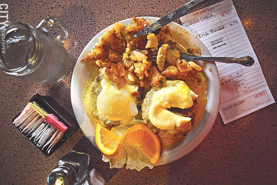 The Irish Benedict, made with corned beef and Swiss cheese, at Peppermint's Family Restaurant. - PHOTO BY MATT DETURCK