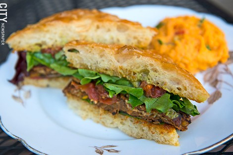The lentil burger from The Red Fern. - PHOTO BY THOMAS J. DOOLEY