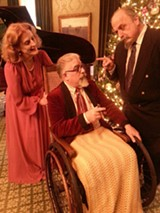 """PHOTO COURTESY GEVA THEATRE CENTER - """"The Man Who Came To Dinner,"""" on stage at Geva Theatre Center's Nextstage, - features (from left to right) Kate Lacy-Stokoe as - Mrs. Stanely, Ray Salah as Sheridan Whiteside, and - Morey Fazzi as Mr. Stanley."""