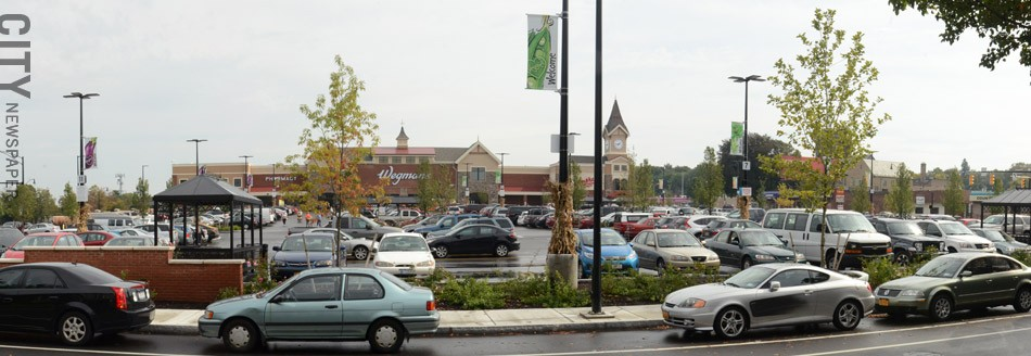 The revamped parking lot at the East Avenue Wegmans. - PHOTO BY LARISSA COE