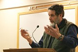 PHOTO BY GARY VENTURA - The Sierra Clubs Hugh Mitchell, at Mondays Pittsford hearing: Suburban developments impact both the city and the regions open space.